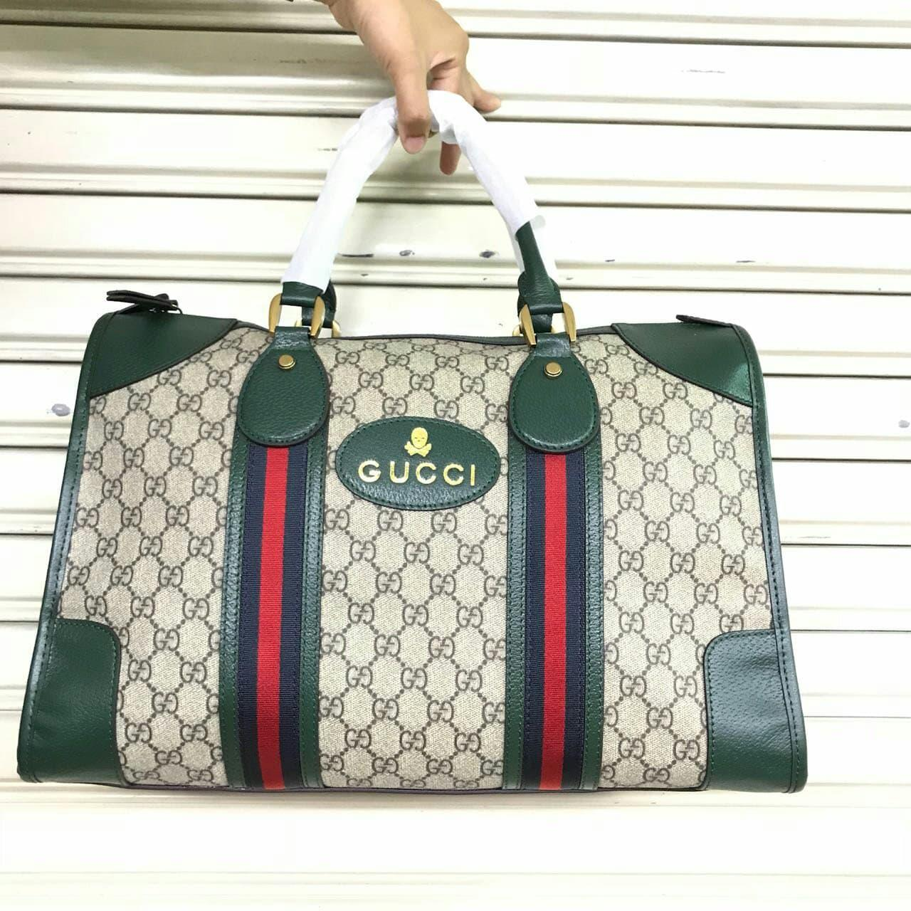 TAS GUCCI BOSTON BROWN GREEN CANVAS WITH WEB MIRROR QUALITY
