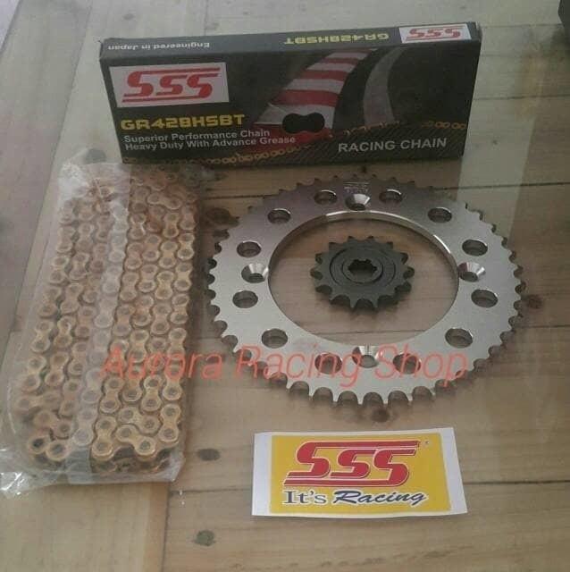 PROMO Gear Set SSS Kawasaki KLX 150 / D Tracker & Rantai SSS HSBT 130L Gold TERBARU