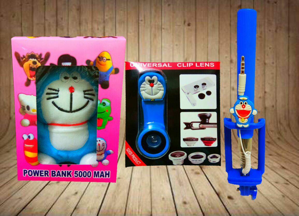 Paket Irit Karakter Doraemon 3in ( Powerbank Boneka + Fisheye + Tongsis )