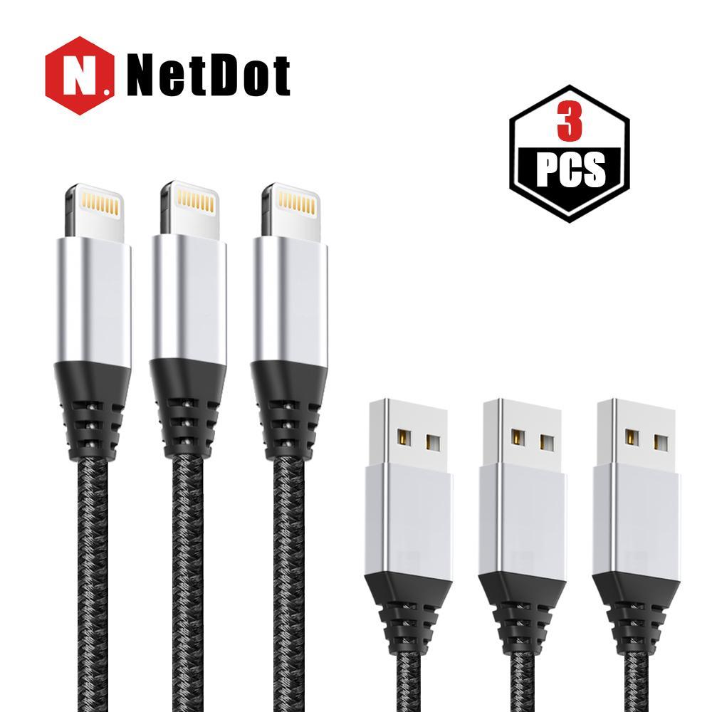 Netdot 1 M 3 Pack Lightning (iPhone) Transmisi & Cepat Pengisian Jalinan Kabel Data untuk Apple Perangkat