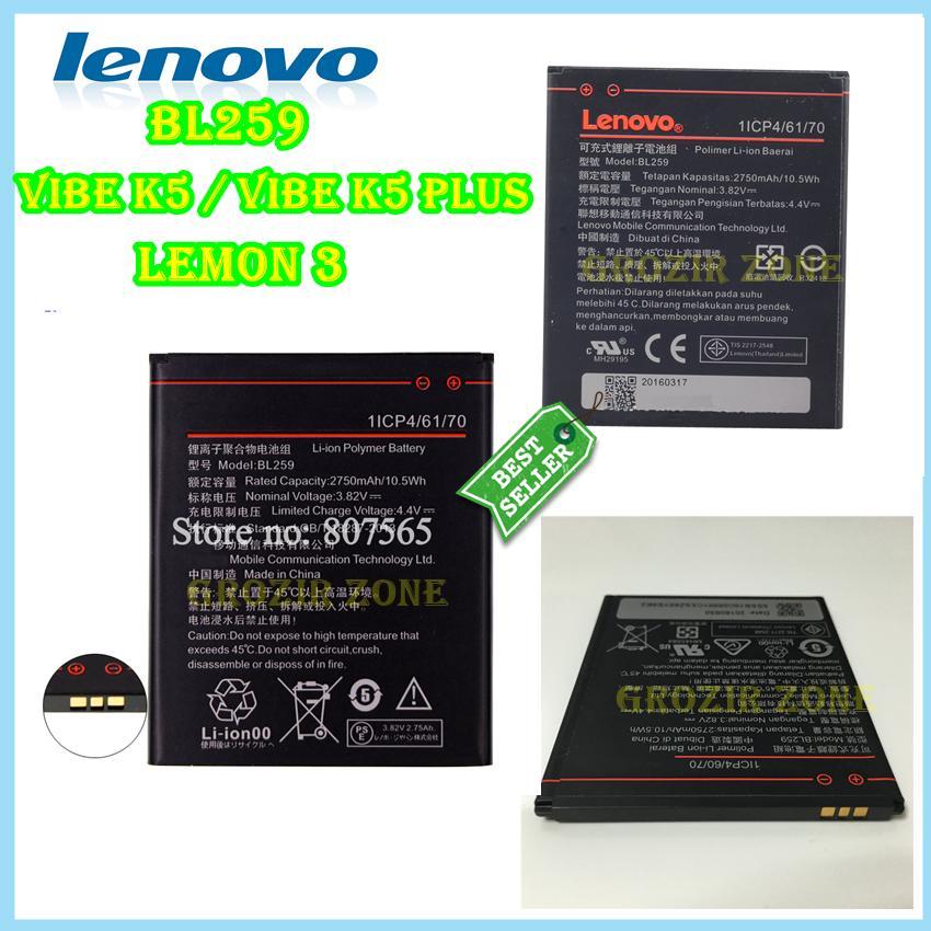 Lenovo Baterai / Battery BL259 For Lenovo Vibe K3 Plus / Lemon 3 Original -  Kapasitas 2750mAh ( Grozir Zone )