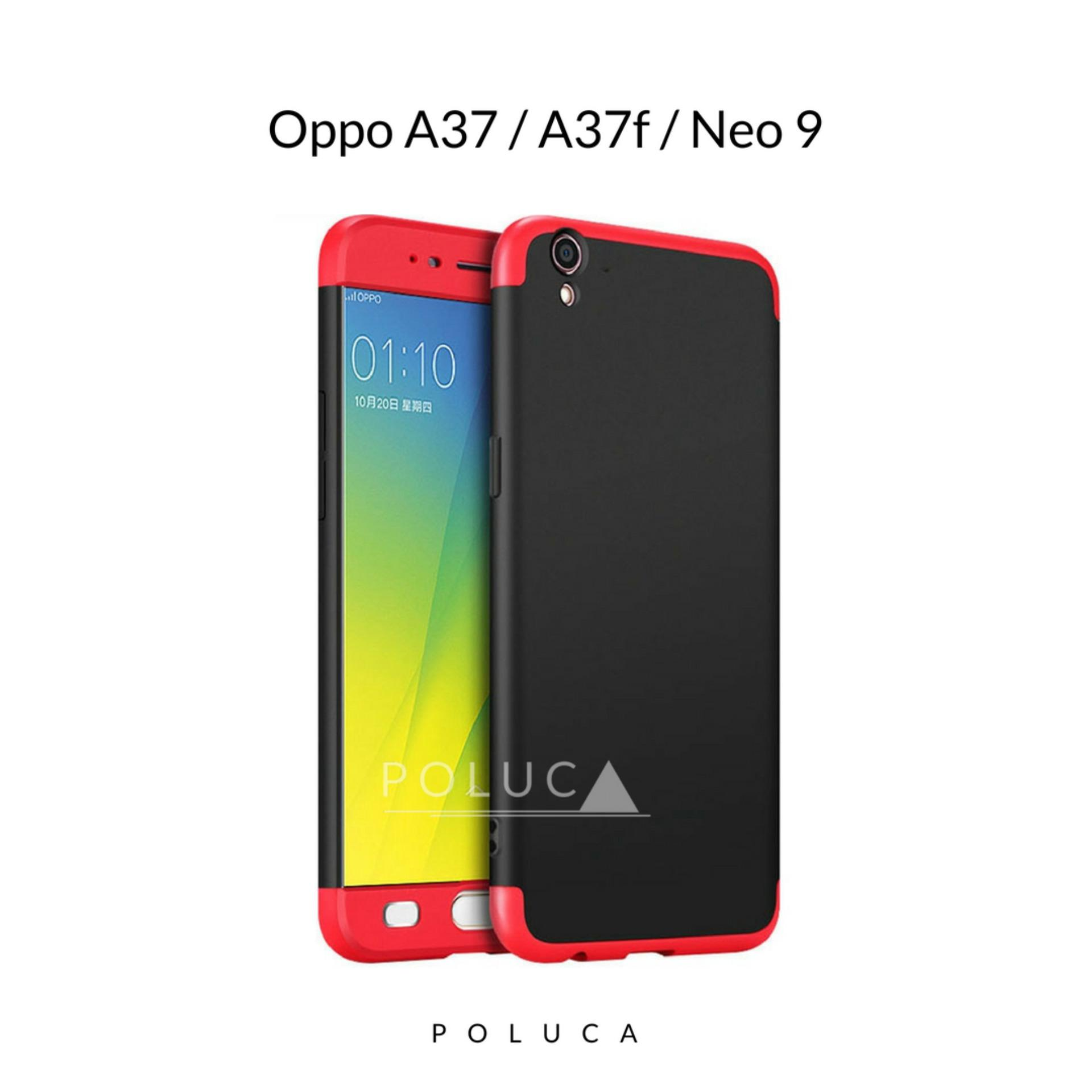 Poluca Case Oppo A37 , A37F , Neo 9 ( sama ukuran ) Premium Front Back 360 Degree Full Protection Hardcase - Black Red