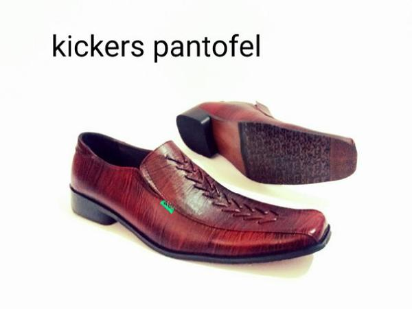 Jual Sepatu Kerja pria Kickers Pantofel Kulit Maroon Baru - QGXgVi