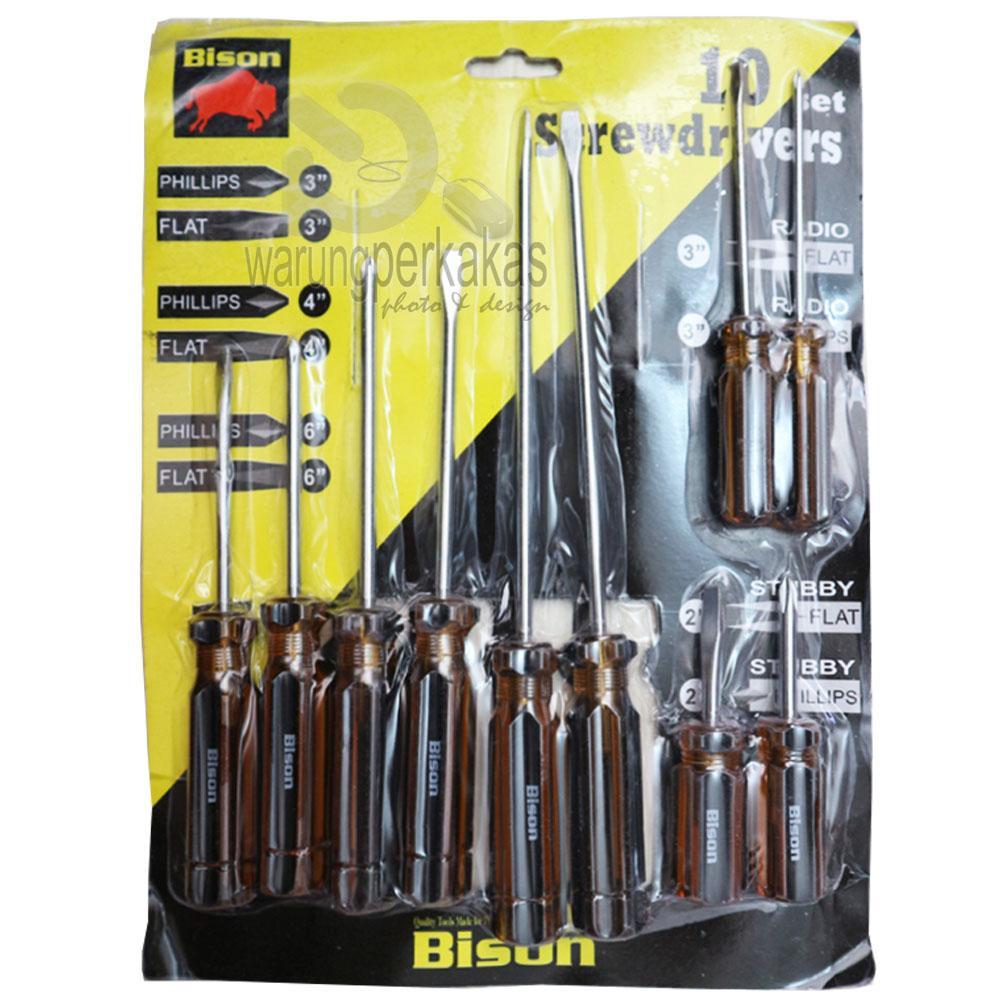 Bor Listrik Terbaik Mata Besi Kayu Set Mollar 13 Pcs Bison Obeng 10pc