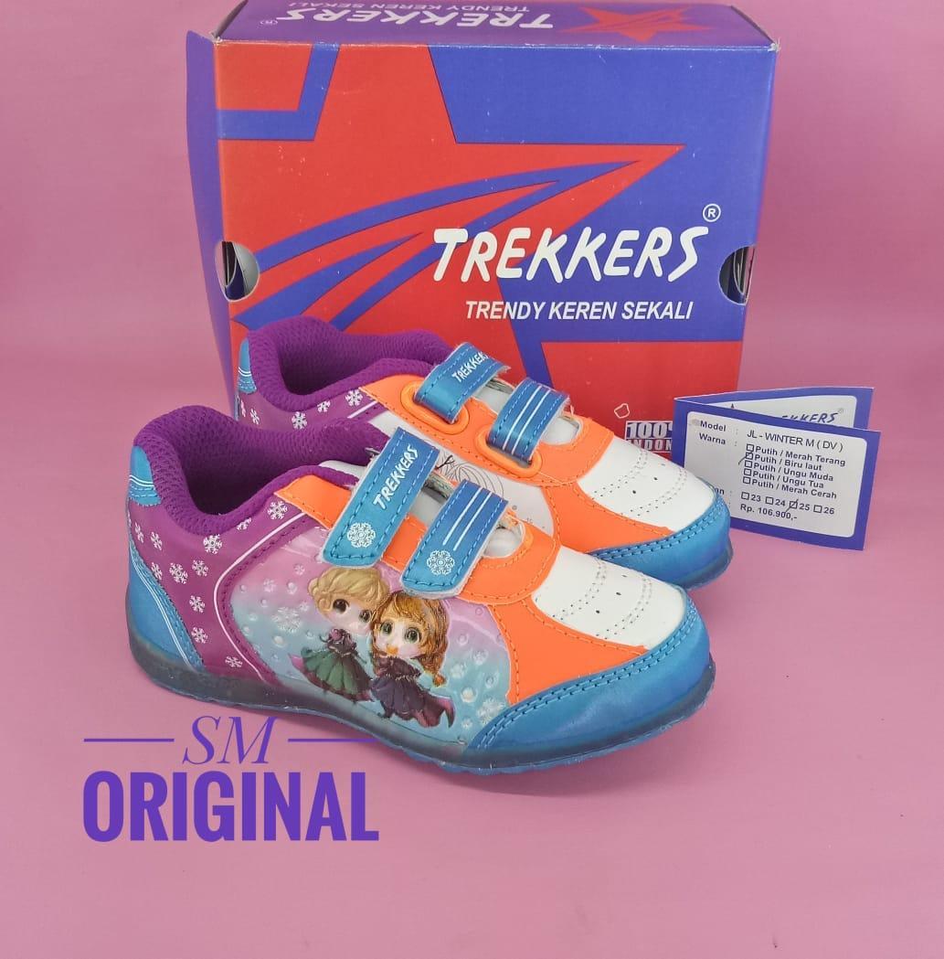 Daftar Harga Sepatu Anak Perempuan Nyala Terbaru Bulan November Cewek Warna Ungu Trekkers Winter Lampu Putih Birulaut 23 26