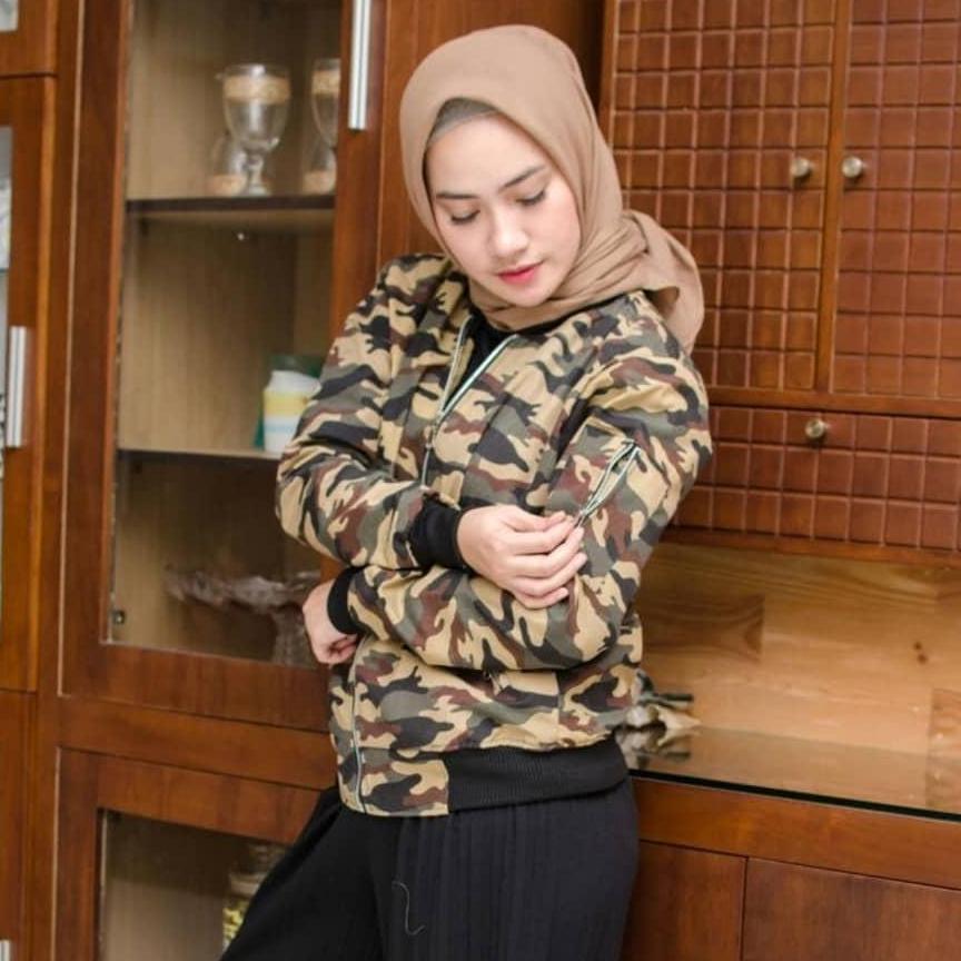 Bomber Loreng Mocha - Jaket Bomber Wanita