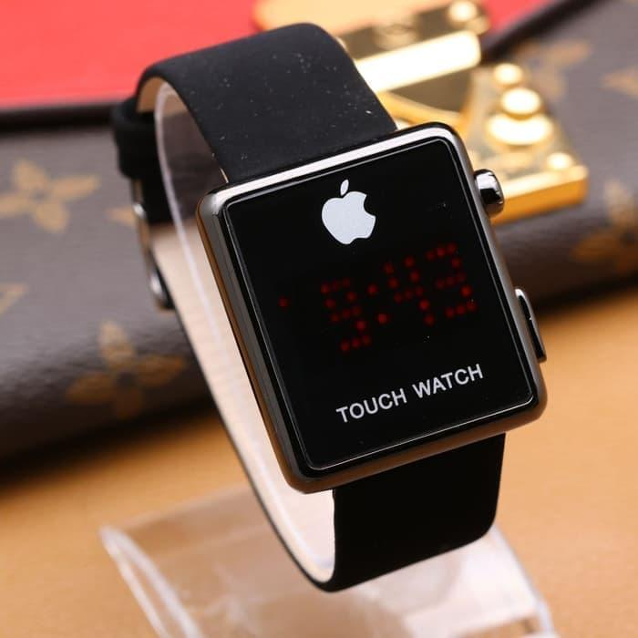 Jam Tangan Fashion Wanita Iphone Kotak Touch Screen Beludru Hitam