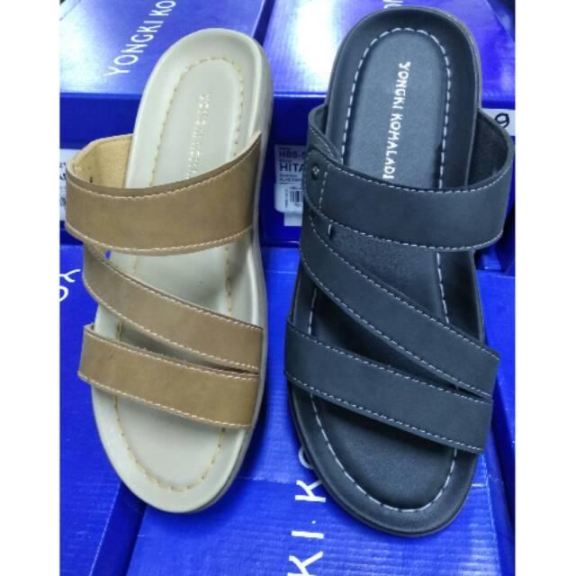 Sandal casual pria Yongki Komaladi original 100% fullset box new hitam