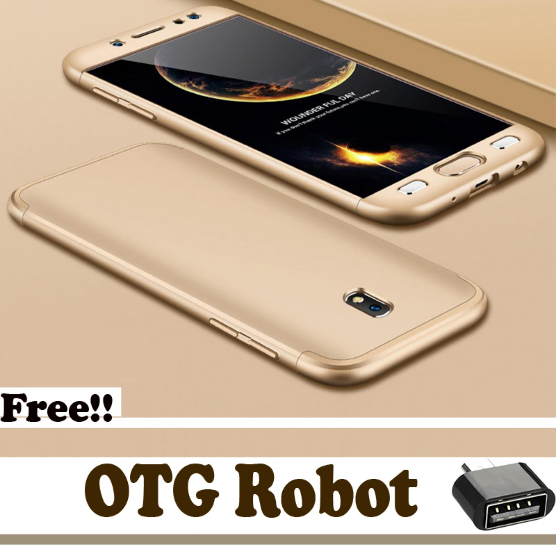 360 Full Protection Case Elite Untuk Samsung Galaxy J5 ProFull Body Protection Shockproof Baby Skin Cover - Gold - Free OTG