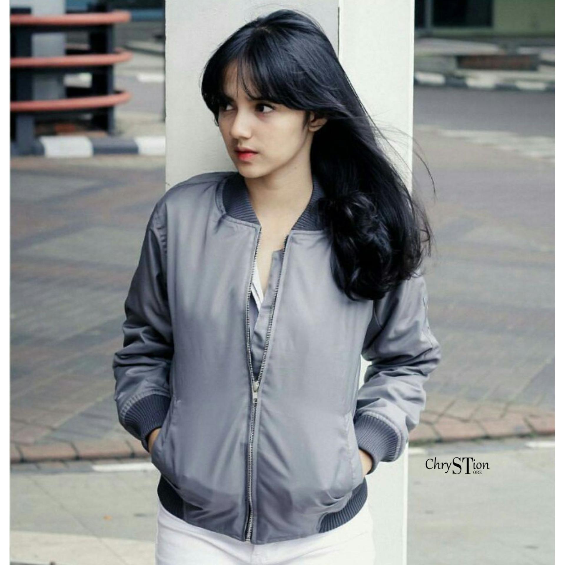 Chrystion Bomber Jacket Wanita Parasut Tebal Lengan Panjang Rip Premium