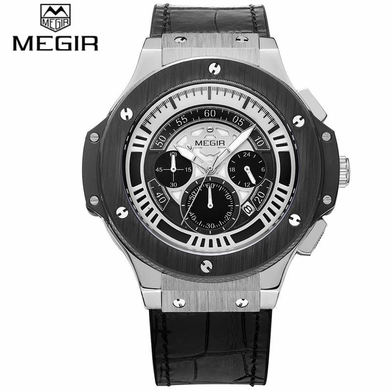 Pria Quartz Perhiasan Fashion Bergaya MEGIR Merek Desain Chronograph Army Jam Sport Kulit Mewah Wrist Waterproof