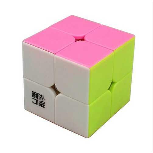 Rubik 2x2 Yongjun Yupo Stickerless Pink / Jual Rubik Murah | Toy