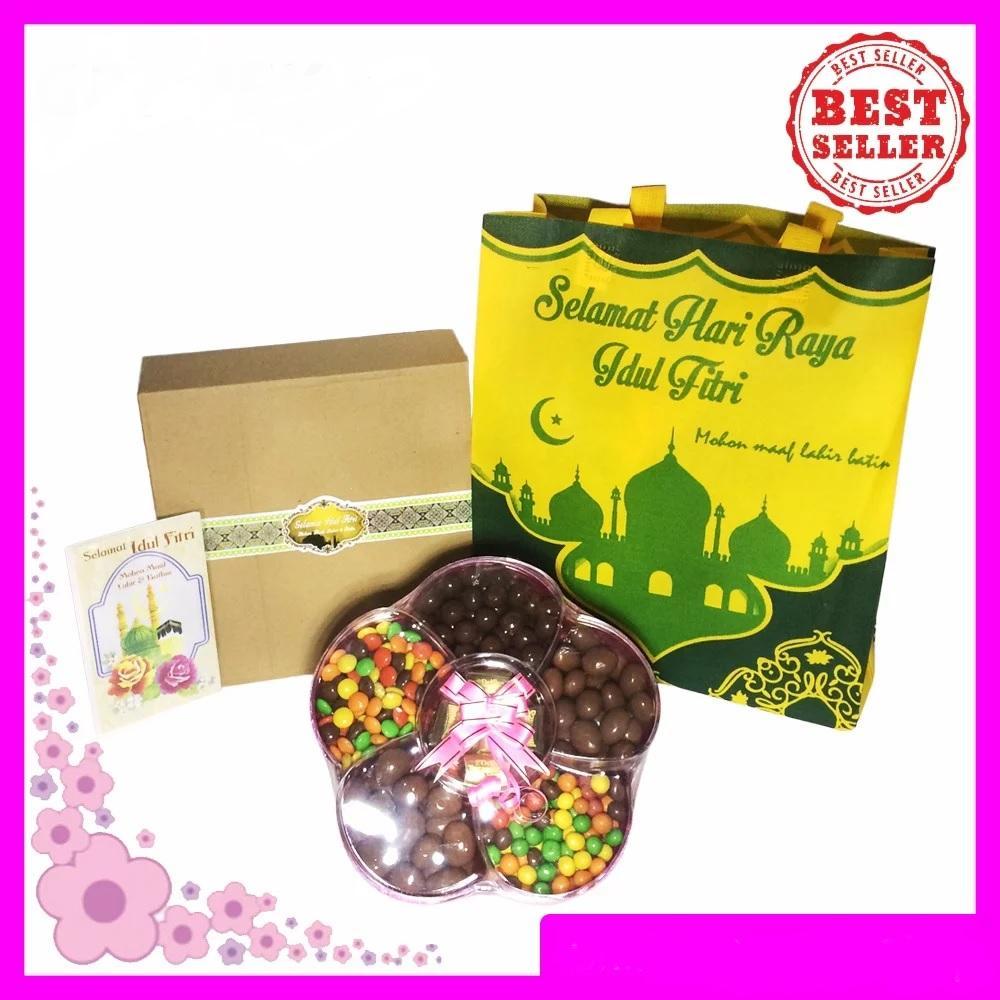 Coklat Full Delfi Toples Bunga Paket Lebaran Coklat Delfi dan Tas Idul Fitri Cantik Free Gift Card Coklat Lebaran