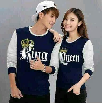 Tj-fashion tren-sweater couple king queen-sweater couple biru dongker-sweater pasangan-harga murah