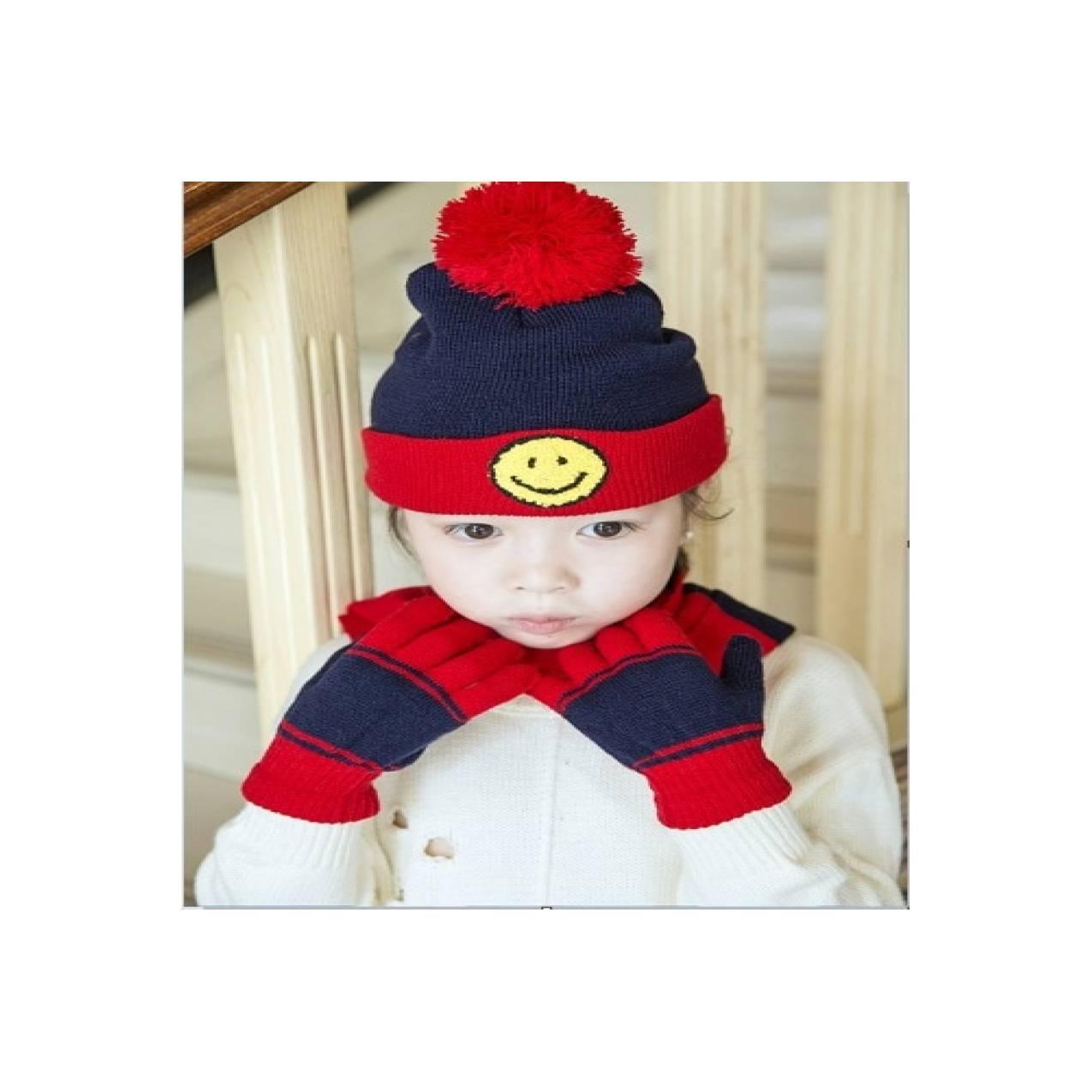 topi kupluk syal dan sarung tangan anak musim dingin winter (set 3pcs)