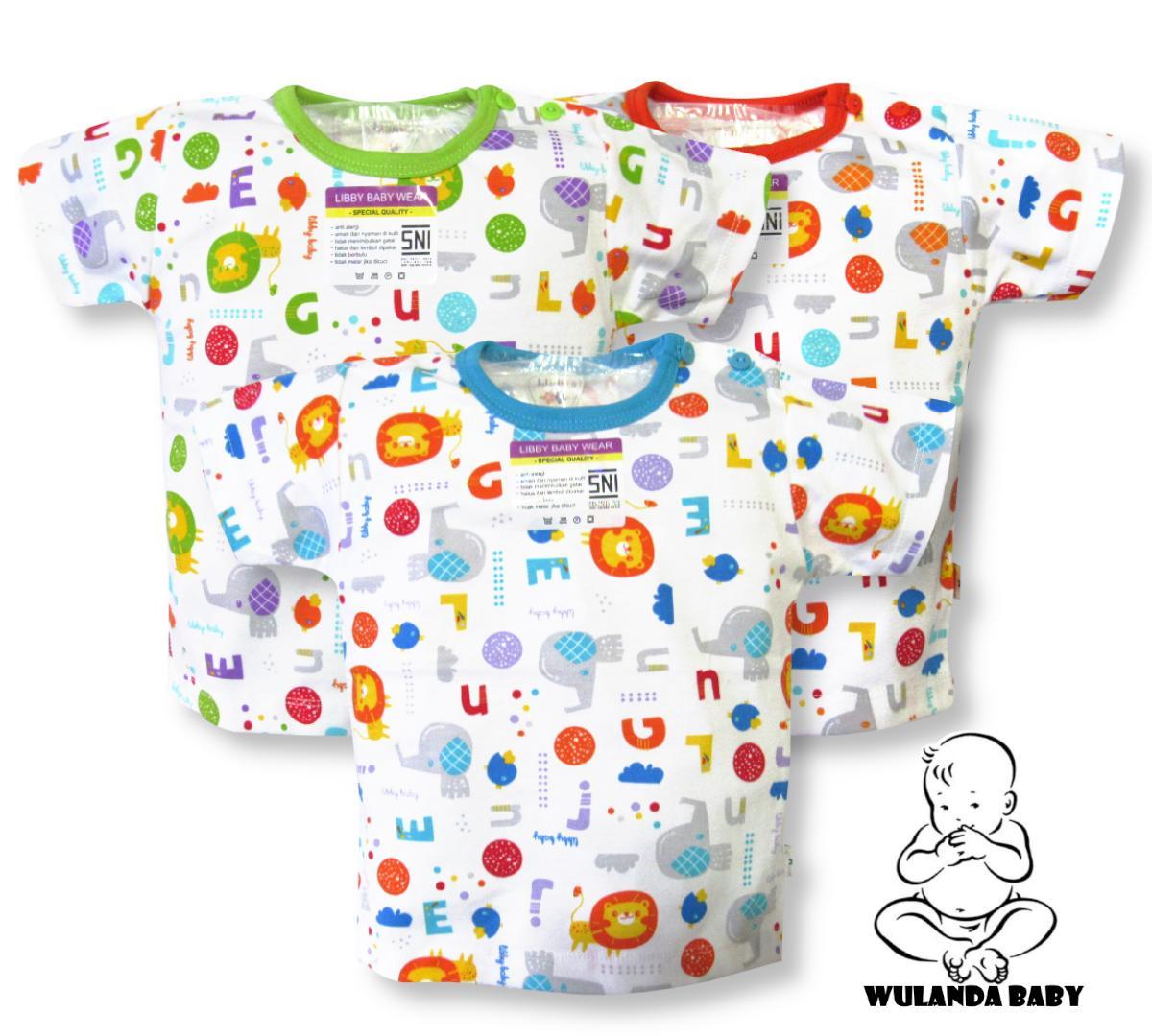 Wulanda 3 pcs baju kaos oblong anak bayi laki laki dan perempuan lengan pendek kancing pundak