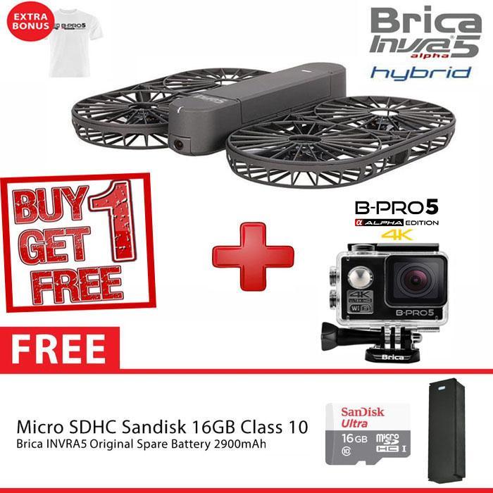 BRICA INVRA5 Hybrid / INVRA 5 Hybrid Personal Drone Full HD 4K WIFI AirSelfie Deluxe 16GB - White - Garansi Resmi 1 Tahun
