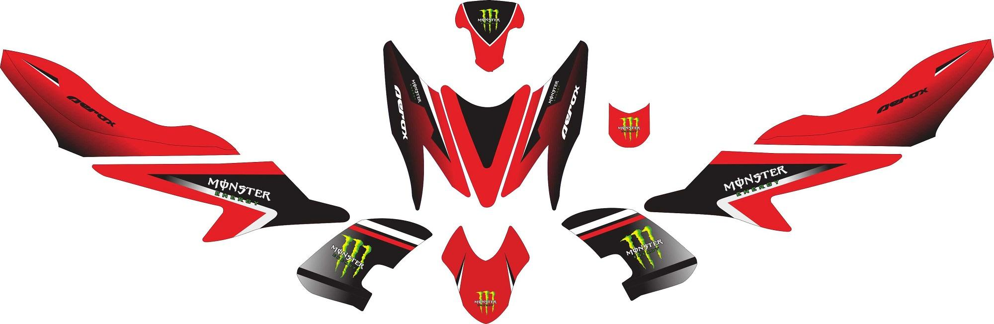 Stiker Motor Aerox 155 Monster Energy V2 Grade A By Master Decal.