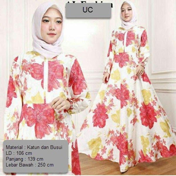 Baju Wanita DE Baju Gamis Syari Busui Motif Bunga  / Baju Fashion Muslim Wanita Syar'i / Gaun Pesta