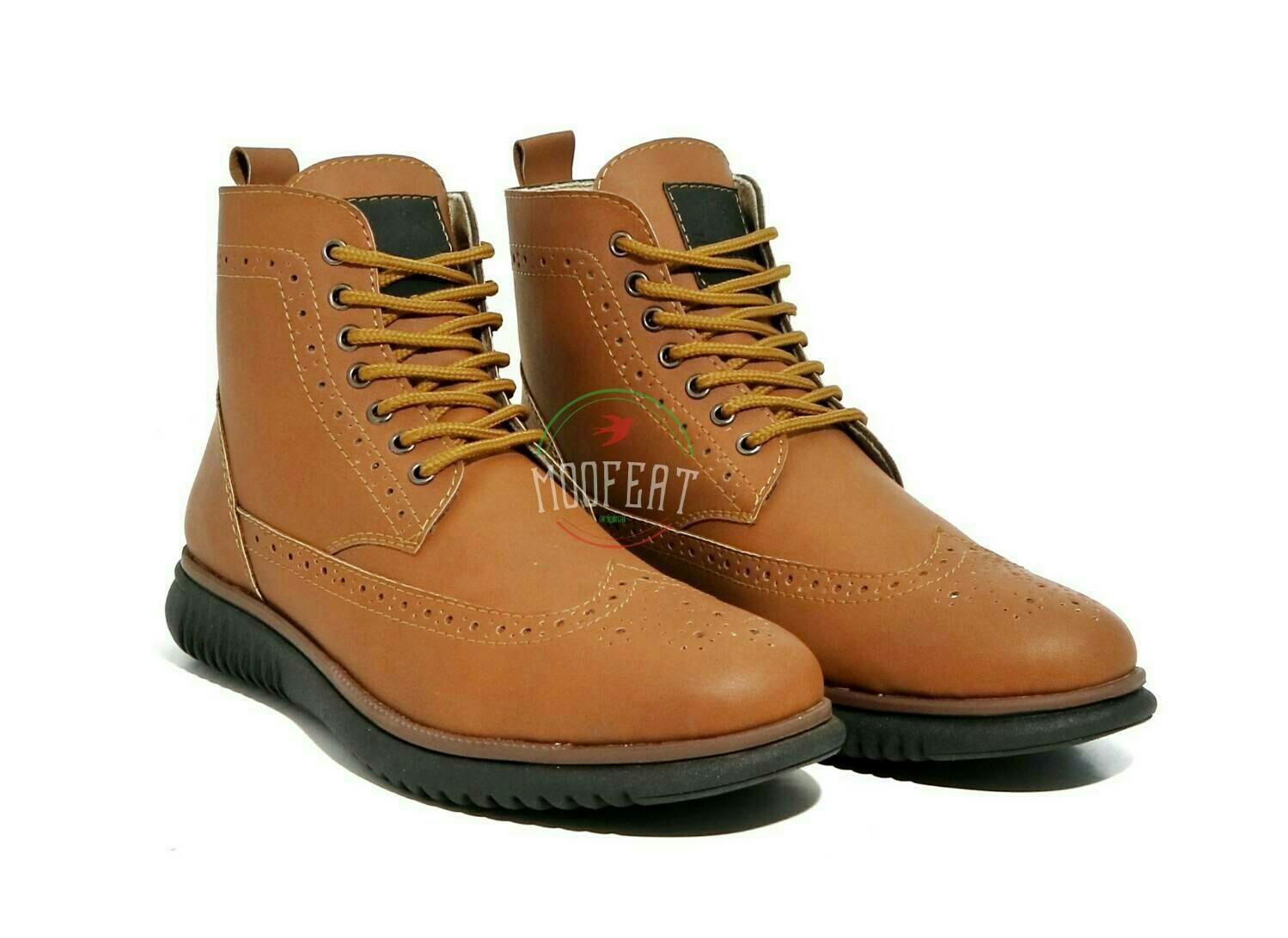 Coba Bandingkan Barang Sepatu Boots Moofeat Paling Murah Bhinekashop Lunnar Tan Pria Original Semi Wingtip