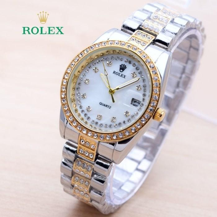Jam Tangan Wanita / Cewek Rolex SK1228 Rantai Kombi Gold