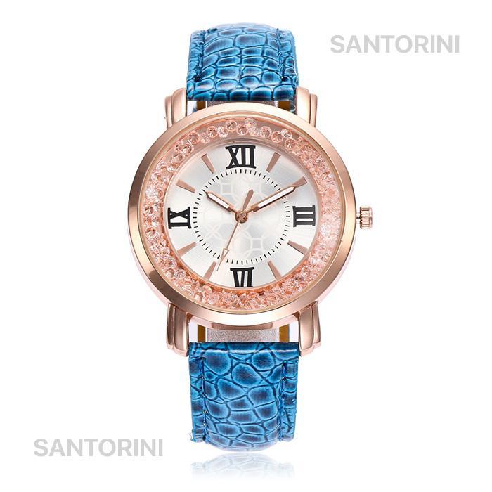 Santorini Jam Tangan Pria Wanita Fashion Diamond Stone Quartz Analog Men Women Leather Watch