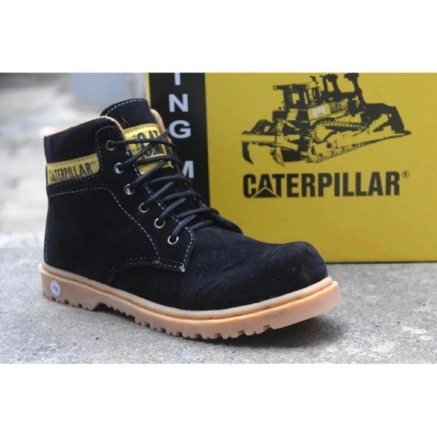 Sepatu safety caterpillar, sepatu boots pria kkaterpilar warna black, sepatu gunung
