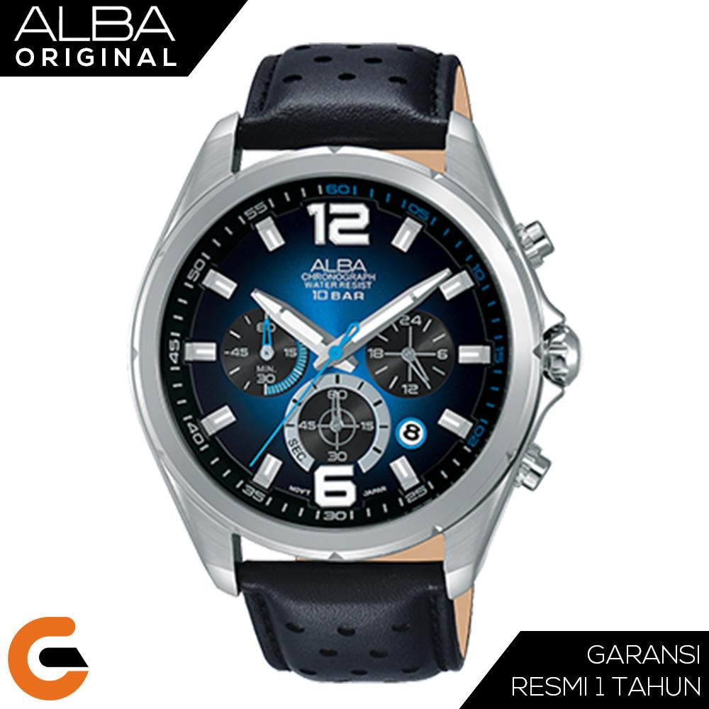 Alba Chronograph Jam Tangan Pria Black Dial Stainless Steel Case Leather Strap AT3B Series