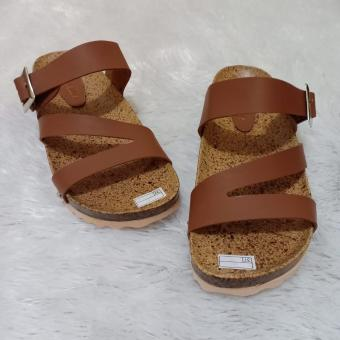Harga preferensial Sandal Wanita Kokop Tali Silang Model Terbaru/Sandal Flat Footbed/Sandal Santai