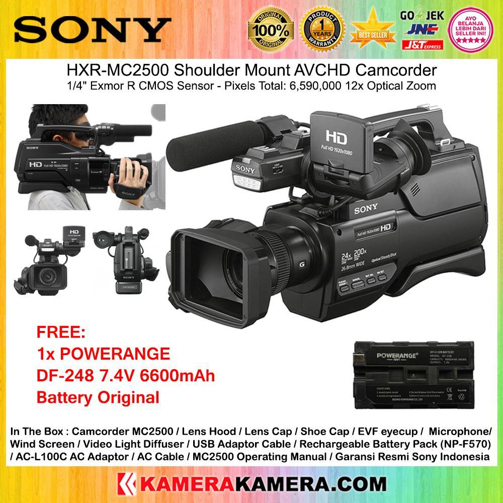 SONY HXR-MC2500 Professional Camcorder MC2500 WiFi CMOS Sensor HD Garansi Resmi Sony + Powerange DF-248 7.4V 6600mAh Battery Original