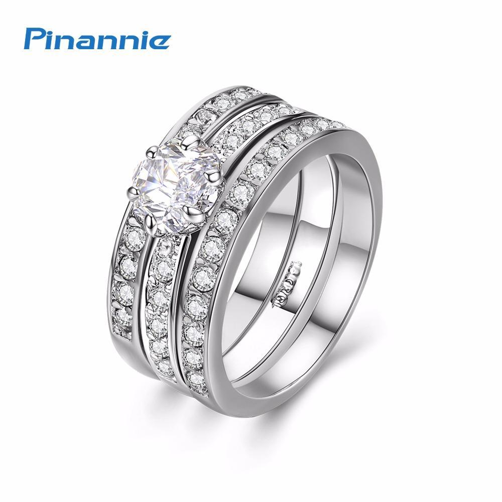Pinannie Emas Putih Berlapis Cubic Zirconia Cincin Perhiasan Wanita Cincin By Pin To Queen.