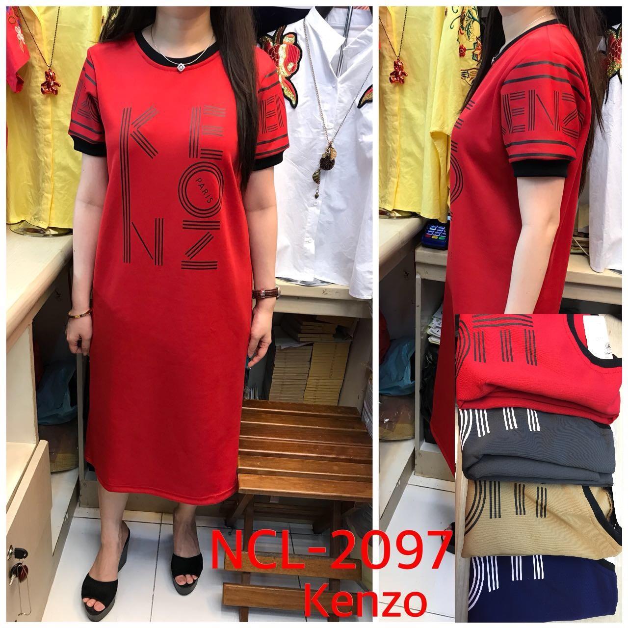 NCL 2097 Kenzo Long Dress Premium scuba import stretch tebal halus adem fit XL LD 105 baju kekinian