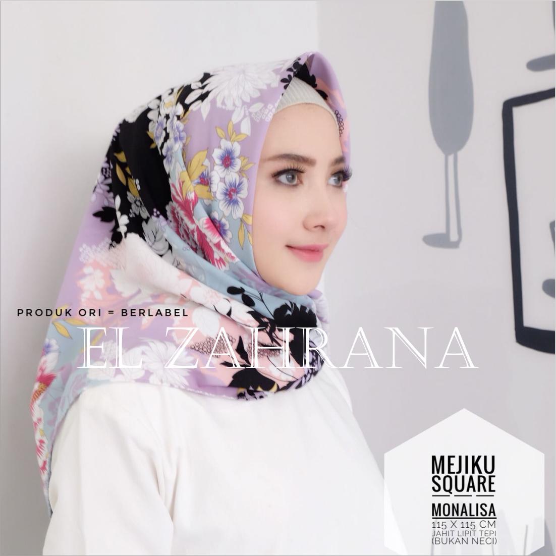 El Zahrana Kerudung Segi Empat - Jilbab Segi Empat - Hijab Segi Empat - Jilbab Motif