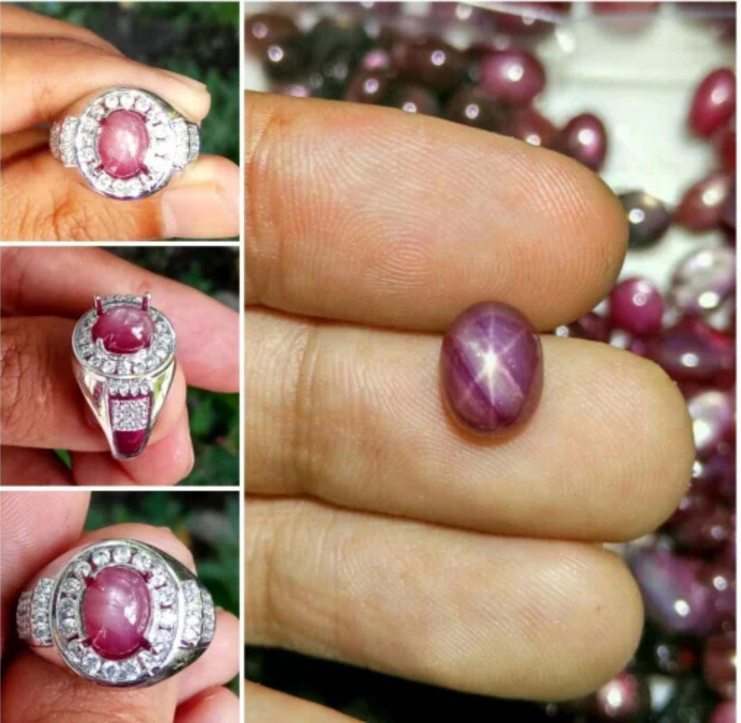 Cincin Ruby Star Asli Natural Ruby Star By Ori Permata.