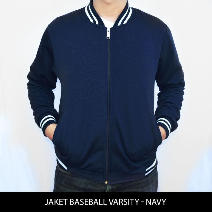 DISKON [BIG SIZE] Jaket Baseball Varsity Polos - Black XXL - XXXL TERMURAH