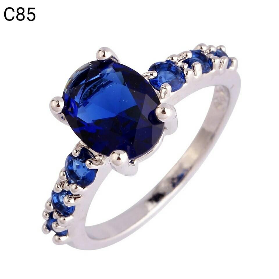 NEW Promo Perhiasan Cincin Perak Silver 925 Lapis Emas Batu CZ Blue Sapphire C85 Murah