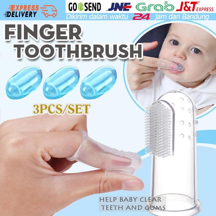 3pcs Sikat Gigi Pembersih Lida Bayi Dengan Jari Baby Kids Silicone Finger Toothbrush Children Teeth Clear Gum Brush Infant Deciduous Tooth Brush - Biru By Soya Global.