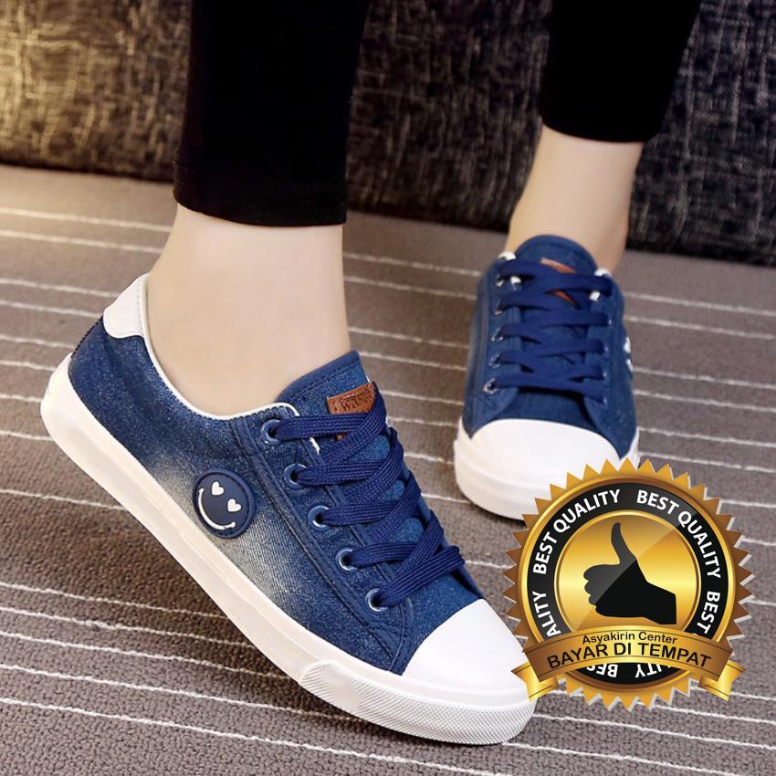 Lovelyshoes Sepatu Kets Trendy Jeans Smile Biru Navy Putih