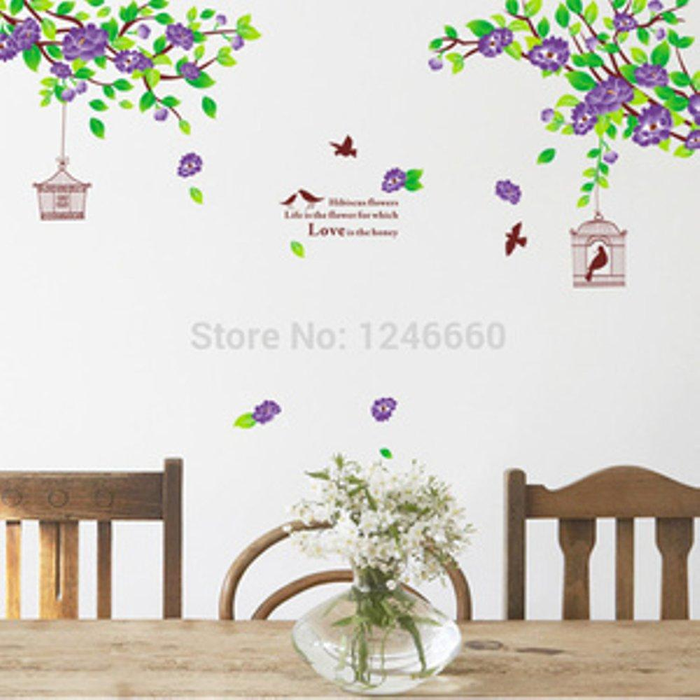 Hibiscus Purple Flowers AY1916B - Stiker Dinding / Wall Sticker blessingblessing
