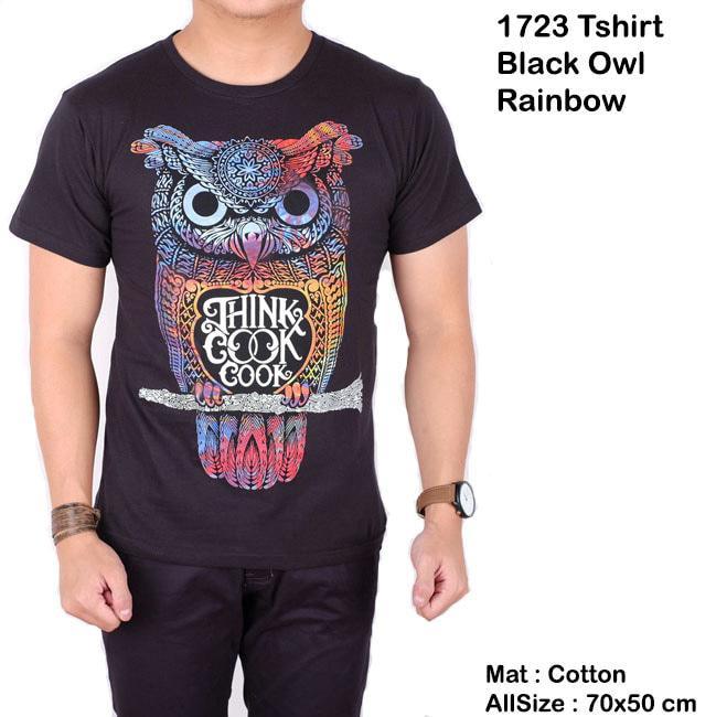 Menzu - T-Shirt Pria Lengan Pendek Black Owl Rainbow / Kaos Distro / Baju Cowok Sablon