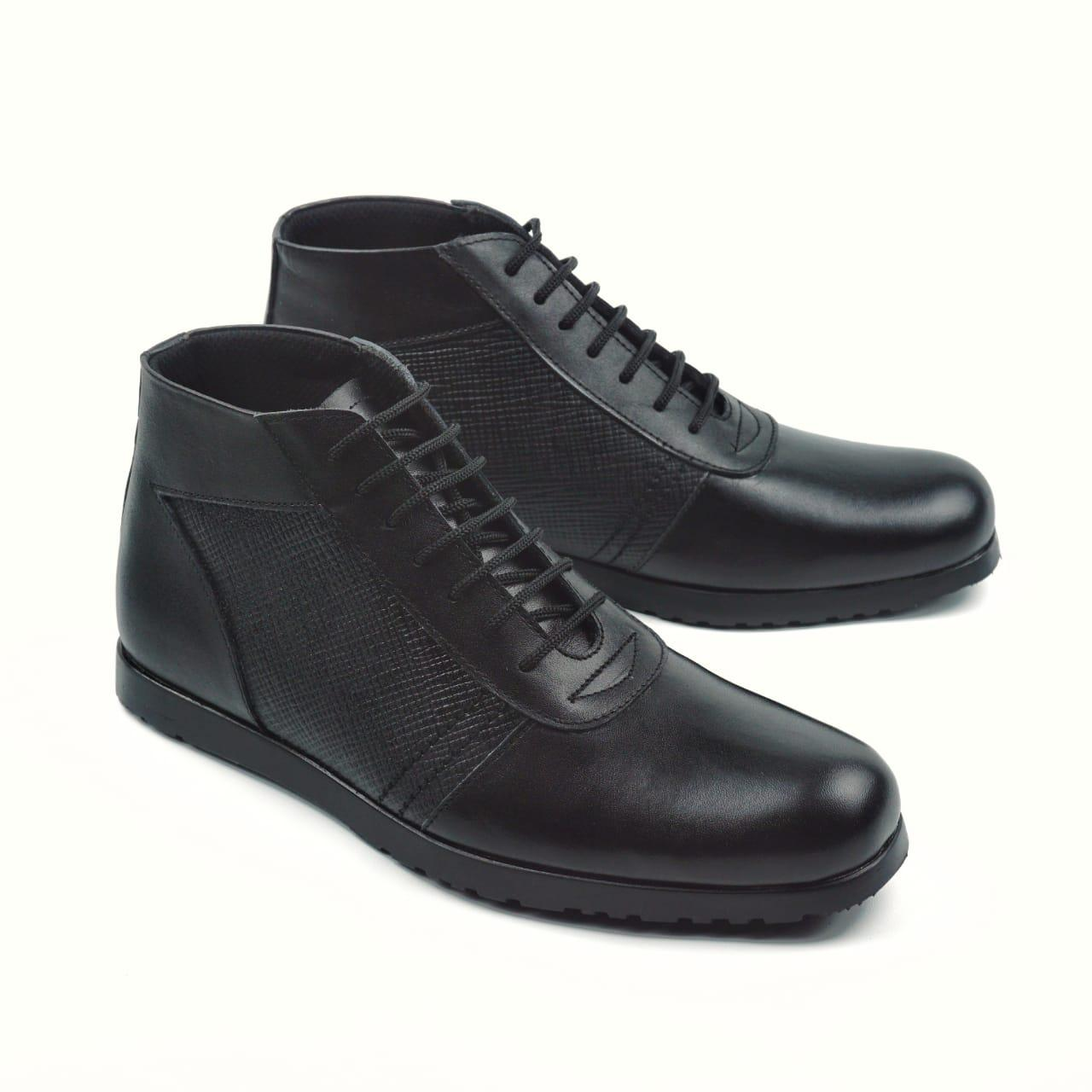 Sepatu Boot Pria Dress Boots Like Fordza 0333 Model Semi Pantofel Warna hitam Kulit Asli