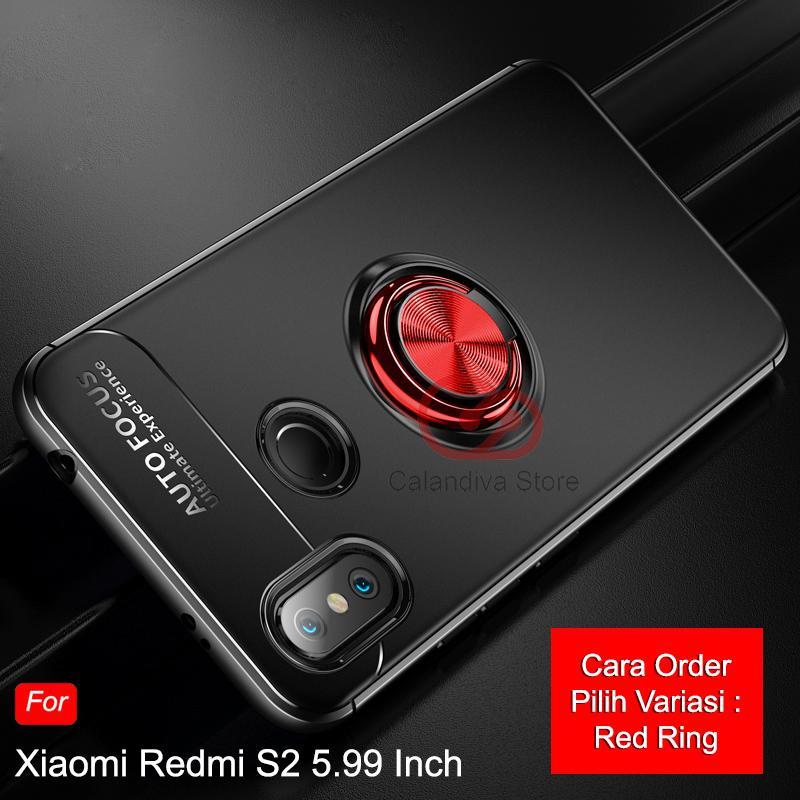 Calandiva Ultimate Ring Kickstand Hybrid Premium Quality Grade A Case for Xiaomi Redmi S2 5.99 Inch