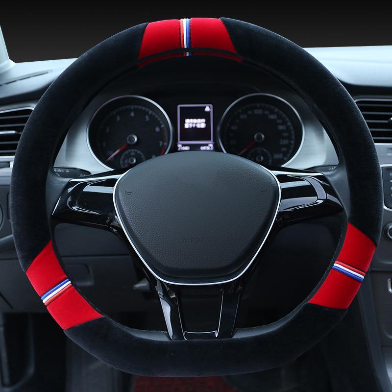 Peugeot Stir Cover Logo Grip Plush Pendek Model Musim Dingin Mobil