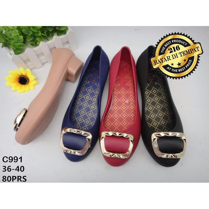 Jelly Shoes Wanita C991 Import - Wedges Wanita Merah Hitam Navy Camel