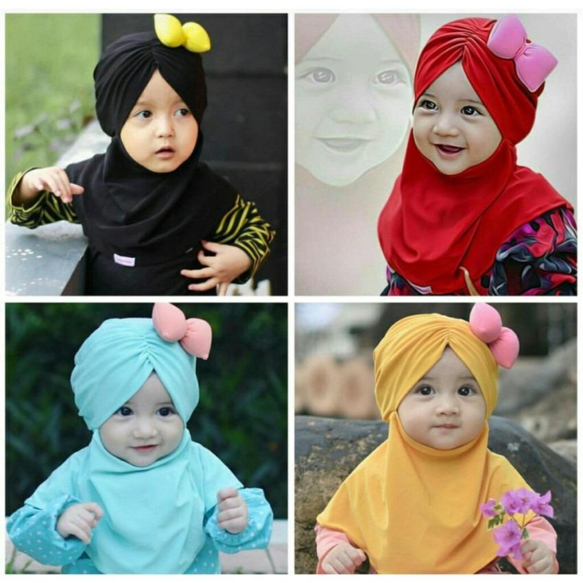 Kerudung Anak Bayi pita tebal / Jilbab Anak Bayi / Jilbab Bayi / Hijab Pashmina Instan Anak