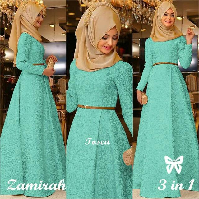 Kedai_Baju Pakaian Muslim / Baju Muslim Murah Syari Hijab / Gamis Zamirah Green