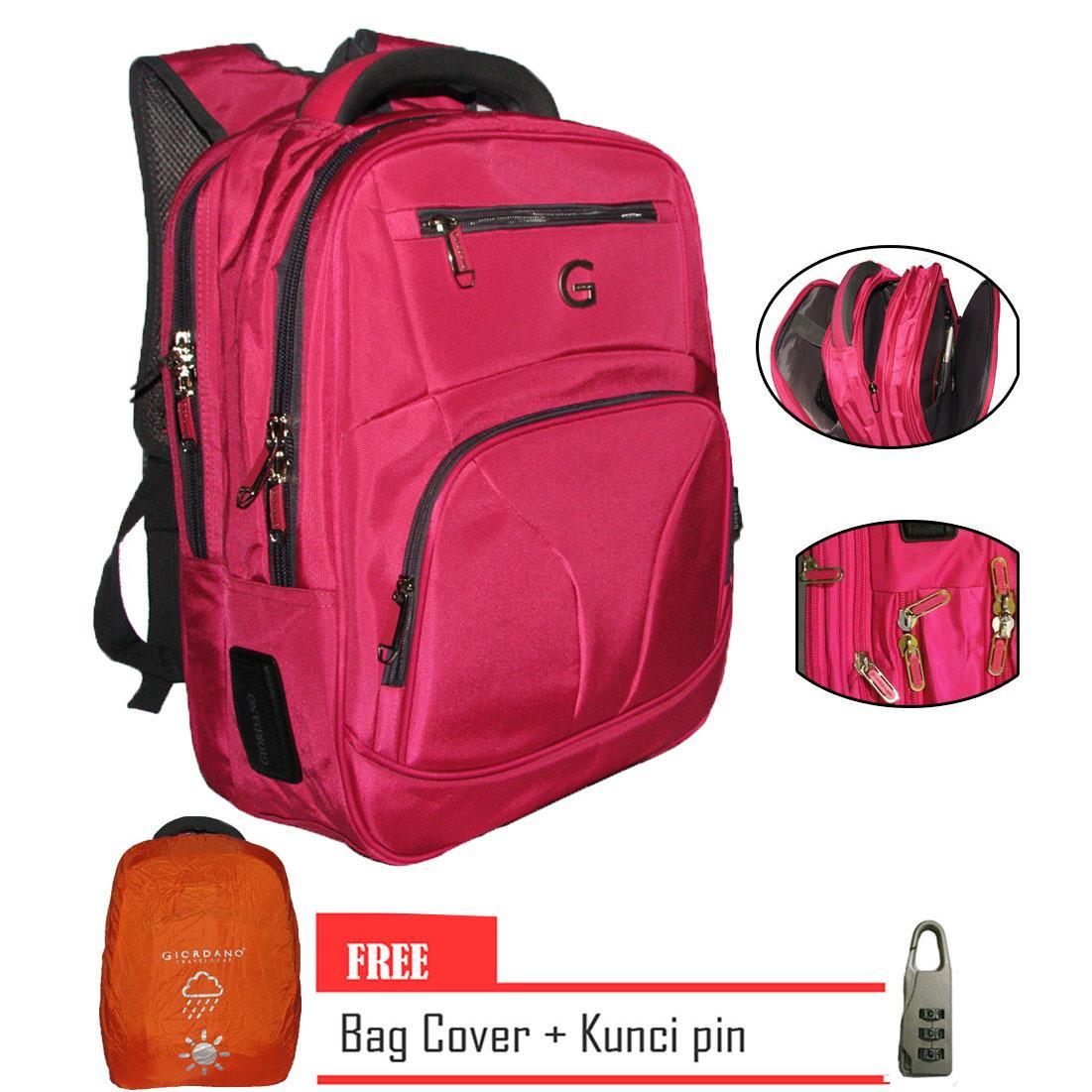 Giordano Backpack Laptop Original Import Free -PINK Dengan Kunci Pin