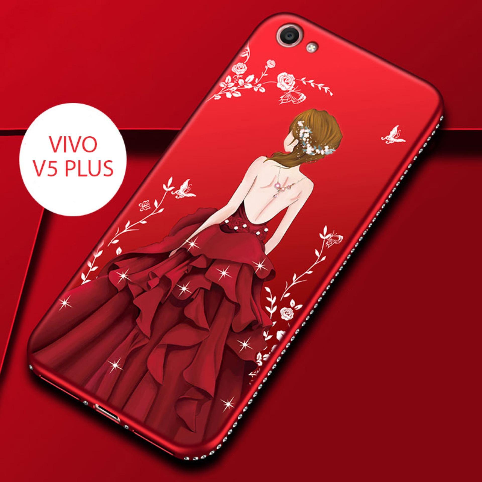 CASE VIVO V5 PLUS LUXURY 3D GODDES RHINESTONE FRAME SILICONE SOFT BACK COVER RED DRESS PRINCESS