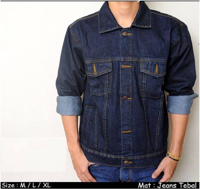 Jaket Pria Biru Dongker / Jaket Jeans Navy / Jaket Denim Levis Biru Tua Garmen Wash