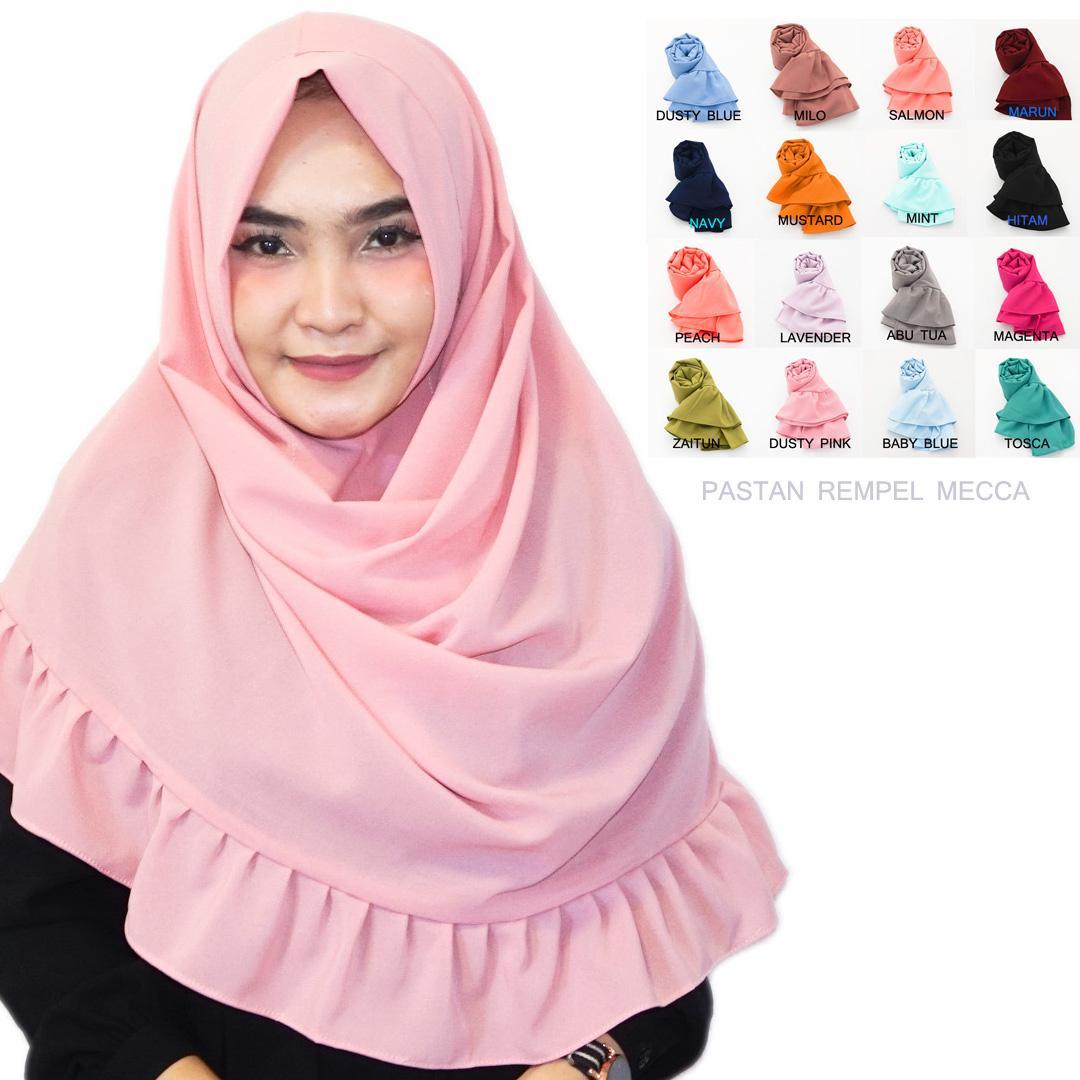Pashmina Instan Rempel Mecca - Hijab Instan Rempel - Jilbab Kerudung Instan Berkualitas